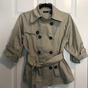 NY&CO Beige Trench Style Double Breasted Jacket